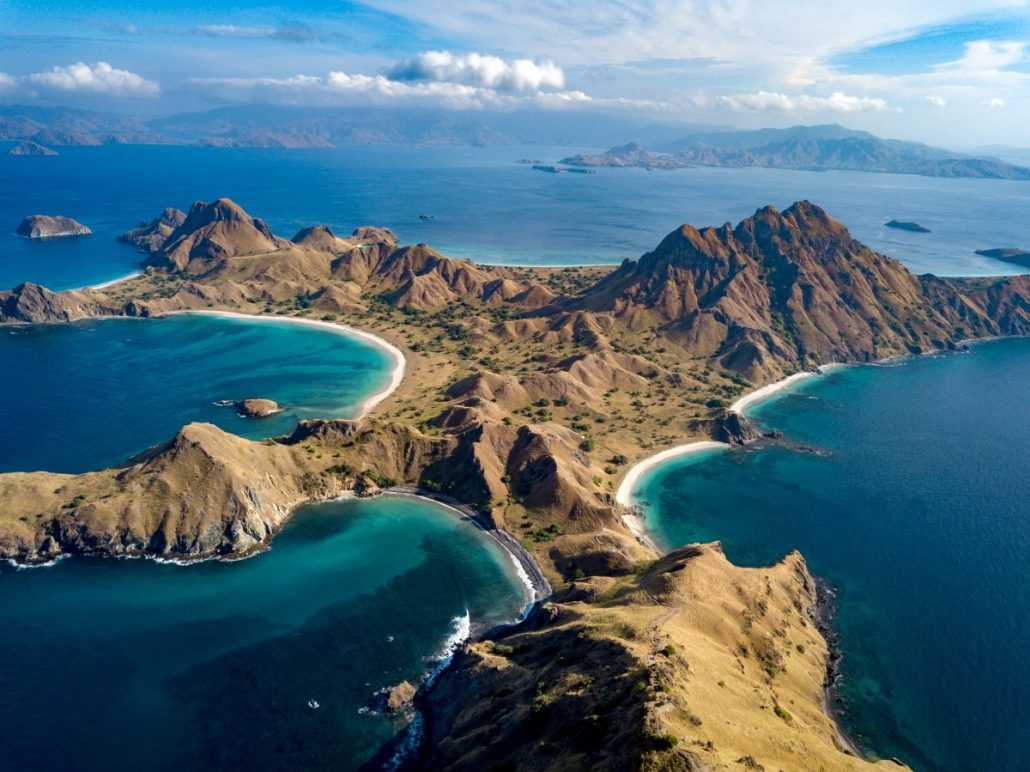 Aerial photograph of the landscape of the Komodo Islands in Indonesia.