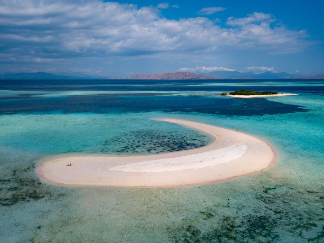Aerial view on a sandbank with pink sand.