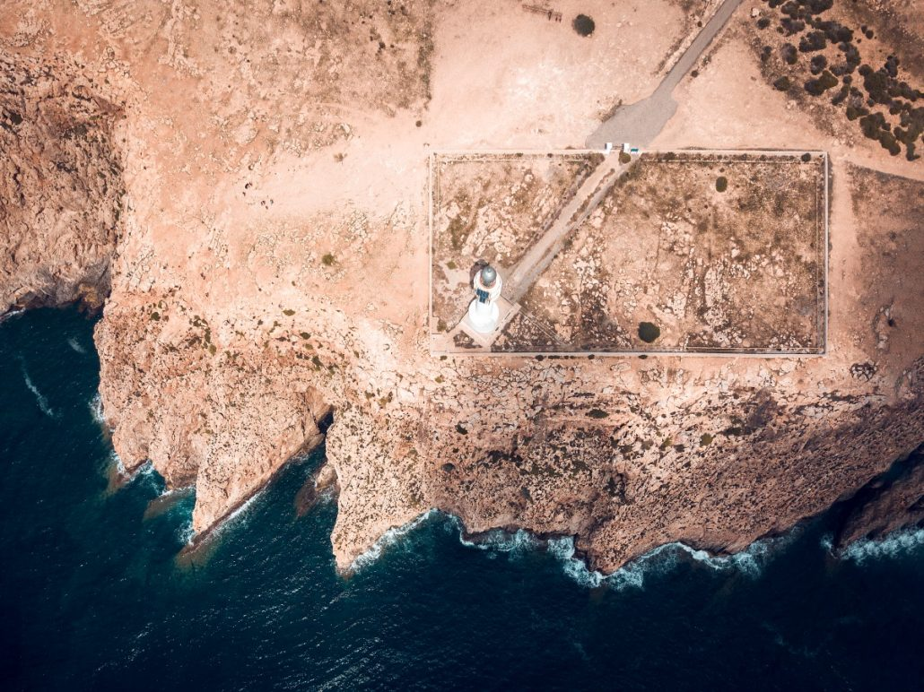 Aerial shot of a lighthouse.
