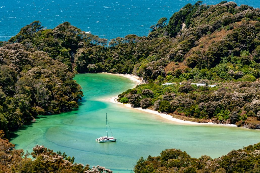 Landscape shot of a bay with beach surrounded by lush green vegetation.